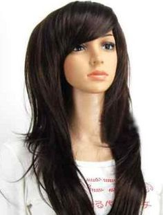 Manhattan // Long Straight Dark Brown Layered Full Wig, Synthetic Natural Look