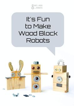 Robot Toy DIY to make with kids. We used old wood pieces and metal hardware for this easy kid craft