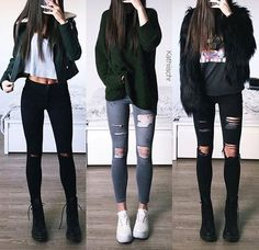 Korean Fashion Trends you can Steal – Designer Fashion Tips Teen Fashion Outfits, Edgy Outfits, Korean Outfits, Cute Casual Outfits, Look Fashion, Outfits For Teens, Trendy Fashion, Dress Outfits, Winter Outfits