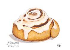 Cinnamon Roll Breakfast Print from Acrylic Painting Cinnamon Cupcakes, Cinnamon Roll Waffles, Cake Illustration, Food Illustrations, Cinammon Rolls, Desserts Drawing, Food Clipart, Food Sketch, Watercolor Food