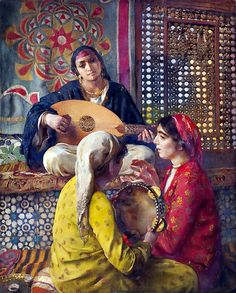 Les musiciennes, Egypte By Paul Alexandre Alfred Leroy (French, Oil on canvas 81 x 65 cm Note the tapestry in the background- it looks like a classic Egyptian tent-maker design! Art And Illustration, Art Arabe, Portrait Photos, Arabian Art, Old Egypt, Ancient Egypt, Pics Art, Classic Paintings, Arabian Nights