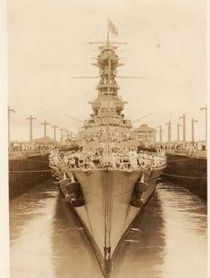 HMS Hood passing through the Panama Canal.