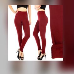 Wine extra fleece leggings. These are simple in style but they are extra heavy. Color in wine Boutique Pants Leggings