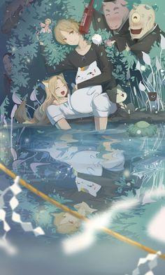 Natsume Yuujinchou 💖 Even though I didn't watch 3 season of this anime. I still loved it so much. Kawaii Anime, Manga Anime, Anime Art, Natsume Takashi, Onii San, Photo Manga, Hotarubi No Mori, Satsuriku No Tenshi, Natsume Yuujinchou