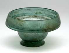 """Patella Cup, in Finely Colored Green Glass. Roman, 1st to 3rd Century AD. Height: 2-3/8"""". $483"""