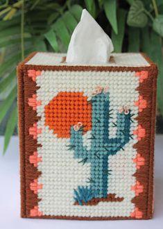 CUSTOM Cactus tissue box cover or Bank Southwest Desert Saguaro Plastic canvas Plastic Canvas Box Patterns, Plastic Canvas Stitches, Plastic Canvas Tissue Boxes, Plastic Canvas Crafts, Tissue Box Holder, Tissue Box Covers, Cabin Crafts, Ribbon Art, 6 Photos