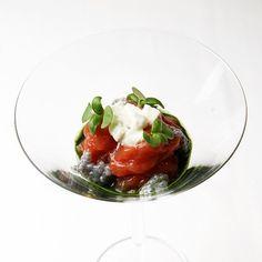 Tomato pulp, mozzarella and basil seeds by Chef Carlo Cracco