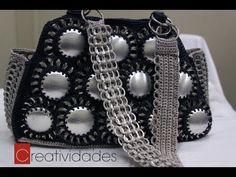 """Como hacer una bolsa con fondos de bote de lata y anillas: Bolsa """"Brenda"""" parte 3"""