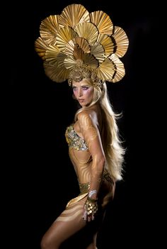 Photo: Bob Armstrong Model: Hannah Mermaid Headpiece: Miss G Designs MUA: Jonah San Vicente Airbrush Art: Siri Khalsa  #headdress #headpiece #crown #gold #goddess #goldheaddress #queen #mermaid #hannahmermaid #missgdesigns #bodypaint #bodyart