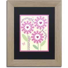 Trademark Fine Art Pink Ribbon Flowers Canvas Art by Jennifer Nilsson, Black Matte, Birch Frame, Assorted