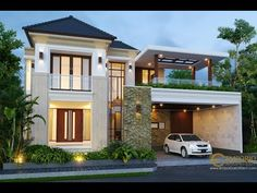 Hasyim Private House Design - Singaraja, Bali- Quality house design of architectural services, experienced professional Bali Villa Tropical designs from Emporio Architect. Classic House Exterior, Dream House Exterior, Bungalow House Design, House Front Design, Double Storey House Plans, Bali House, Modern Villa Design, Architectural House Plans, Home Building Design