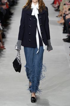 Michael Kors Collection | Feather-trimmed mid-rise flared jeans | NET-A-PORTER.COM