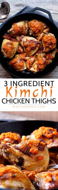 3 Ingredient Kimchi Chicken Thighs: These crispy chicken thighs are slow roasted with just two other ingredients! You won't believe the flavor they have though thanks to spicy, fermented kimchi. Spicy comfort food at its best! | macheesmo.com