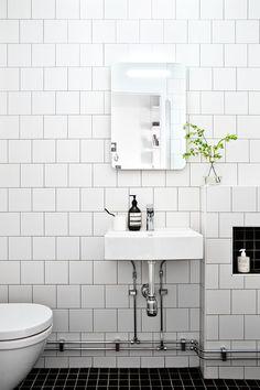 Bathroom Inspiration, love the white tiles