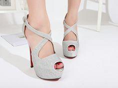 Cross Strap Silver High Heels