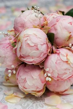 3e413d9187 Beautiful pink peony bridal bouquet with delicate pearl accents. So  romantic! Hydrangea