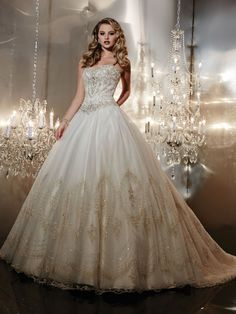 Beautiful strapless wedding ballgown by Christina Wu