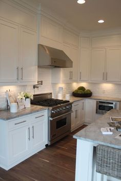 brick backsplash, white kitchen. TOO BLAND DO NOT WANT THIS LOOK