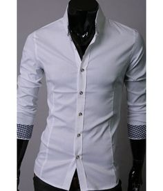 An amazing shirt for casual or dressy wear! These are solid - no pocket button ups with checkered contrast on collar and cuffs for a classic - yet trendy look. Available currently in white and black. XS-M (more sizes coming)