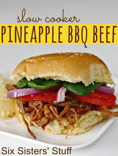 Six Sisters Stuff: Slow Cooker Pineapple BBQ Beef Sandwiches - I wonder if I could do this with shredded chicken since we do not do beef.