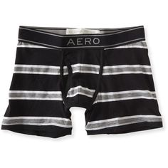 Aeropostale Classic Stripe Knit Boxer Briefs ($6) ❤ liked on Polyvore featuring men's fashion, men's clothing, men's underwear and black