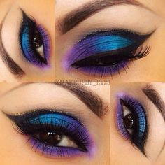 Blue and Purple Peacock Eyeshadow Black cut crease winged out eyeliner What's Makeup ? What's Makeup ? Cut Crease Eyeshadow, Cut Crease Makeup, Purple Eyeshadow, Colorful Eyeshadow, Eyeshadow Looks, Eyeshadow Makeup, Eyeshadows, Eyeshadow Palette, Glitter Eyeshadow