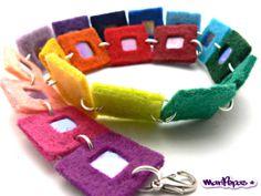 Rainbow felt bracelet with cds recycled heart by MariPepas on Etsy, $12.00