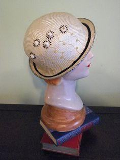Hand Beaded Neutral Straw Bowler with Hand Embroidery by Baubles & Whatnots, SOLD