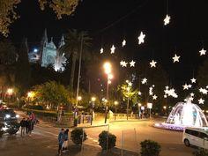 Blick auf die Kathedrale von Palma de Mallorca mit Weihnachtsbeleuchtung