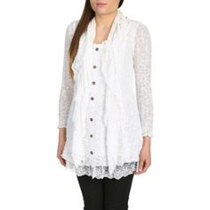 Izabel London Cream lace button up top- at Debenhams.com