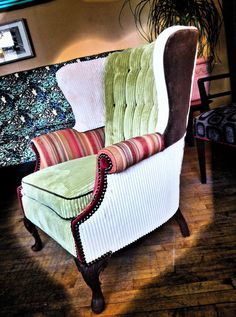 Custom Wingback Chair done in funky style by boltonk on Etsy, $1500.00