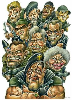 The Expendables Caricature Drawing, Caricature Artist, Cartoon Faces, Cartoon Characters, Cartoon Art, Funny Caricatures, Celebrity Caricatures, Famous Cartoons, Funny Cartoons