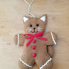 Felt christmas ornaments - Felt cat ornament with red star, hanging cat decoration, ready to ship – Felt christmas ornaments Felt Christmas Decorations, Christmas Ornaments To Make, Christmas Sewing, Christmas Cats, Handmade Christmas, Holiday Crafts, Etsy Christmas, Christmas Felt Crafts, Gingerbread Ornaments