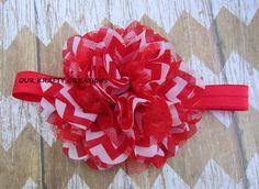 Polyester Headband, Lace Headband, Red Headband, Newborn Headband, Chevron Print by OurKraftyCreations on Etsy