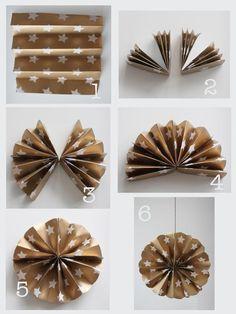 Christmas tree decoration made from brown paper #DIY #KraftPaper #PolkaDot