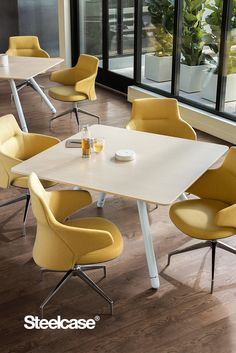 Social spaces are great for gathering to eat, meet, or collaborate.