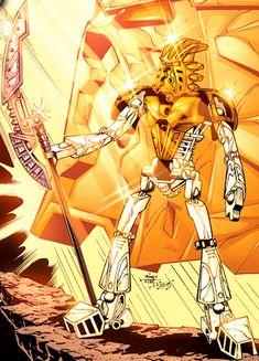 Bionicle Heroes, Lego Bionicle, Character Concept, Concept Art, Legion Of Superheroes, Bio Art, Lego Design, Gold Colour, Conceptual Design