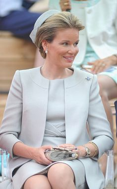 Queen Mathilde of Belgium visits the pavilion of Belgium during the national day of Belgium at the Expo 2015 on June 12, 2015 in Milan, Italy