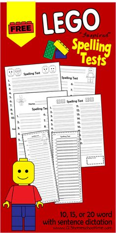 FREE Lego Spelling Tests for 10, 15 or 20 words for 1st-6th grade homeschoolers