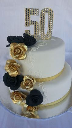 Black and Gold Cakes | Black and Gold 50th