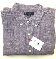 NEW Cremieux Laundered Linen Nail Head Short Sleeve Shirt - Size L Plum…