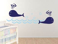 Whales in Ocean  Nursery Wall decals by Wall Jems.