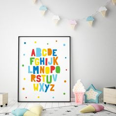 "Nursery Printable Art ""Let Them Be Little"", Printable Baby Room Art, Nursery Wall Art Quote, Kids De Baby Room Art, Kids Room Wall Art, Nursery Wall Art, Nursery Decor, Bedroom Decor, Kids Bedroom, Abc Wall, Alphabet Wall Art, Kids Alphabet"