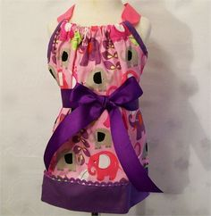 Girls Full Pillowcase Style Apron, Elephant print Apron, Gift for Girls, Made in the USA,    This is a girls apron made in the pillowcase style using a pretty Michael Miller elephant print fabric.   Measurements--   Length---15.5   Width across --14.75   Have any questions before making your purchase. feel free to contact me. I answer all communications within a few hours.   *****************************************  Follow me on Facebook where you can see my items before they are put up for…