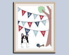 123 Numbers nursery art French Bulldog nursery print Bunting by Wallfry, $25.00