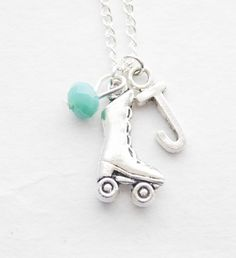 Roller Skate Necklace, Roller Derby Necklace, Roller Derby Gift, Roller Derby Charm Jewelry, Rockabilly Necklace Birthstone Initial necklace by SmittenKittenKendall on Etsy