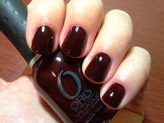 Orly - naughty my stash burgundy nail polish, dark nail poli Burgundy Nail Polish, Dark Nail Polish, Dark Nails, Nail Polish Colors, Gel Polish, Glitter Nails, Gel Nails, Manicure, Nail Design Video