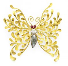 Gold, Pearl And Diamond Butterfly Brooch by McTeigue & McClelland