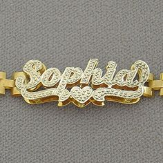 "10K Yellow Gold Personalized 6mm Watch Band Style Ankle Bracelet Diamond Accent Name 3D Double Plates. *10k Yellow Gold Personalized Anklet Diamond Accent 3D Double Plates Name with watchband style ankle bracelet. *Up to 9 Letters - Only first letter capitalized. *Average Name Dimension: 1 1/4 Inch (33 mm) X 1/2 Inch (12 mm) Approx. *Name Thickness Top: 0.7 mm / 22 Gauge / 0.028"" Approx. *Name Thickness Bottom: 0.40 mm / 26 Gauges / 0.018"" Approx. *This double plated name cut out by…"