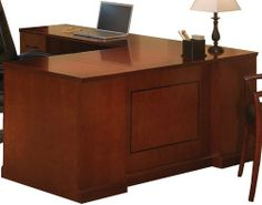 """72""""W Executive """"L"""" Straight Front Desk w/ Left Return . $2399.00. Same as No. Y8477 but with left return. Measures 72""""W x 87""""D x 29-1/2""""H overall. Shpg. wt. 373 lbs. PRICE INCLUDES FREIGHT! (Truck shipment - See Terms & Conditions). Home Office Desks, Home Office Furniture, Kitchen Furniture, Freight Truck, Front Desk, Home Kitchens, Home Decor, Decoration Home, Room Decor"""